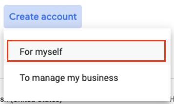 Google Cloud Create Account Dropdown