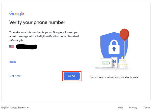 Verify your phone number. Click the Send button