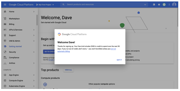 Congratulations!! You've created your Google Cloud account!