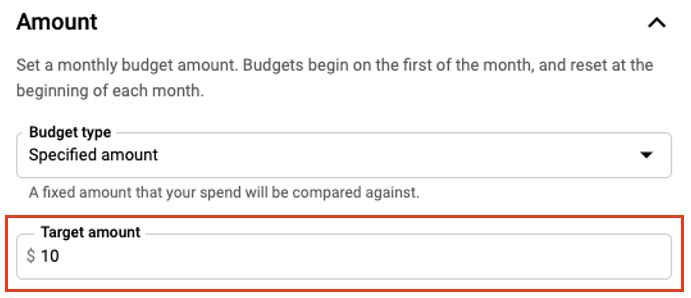 In the Amount section, select Specified amount from the Budget type dropdown and enter the dollar amount you want to set as your Target amount.