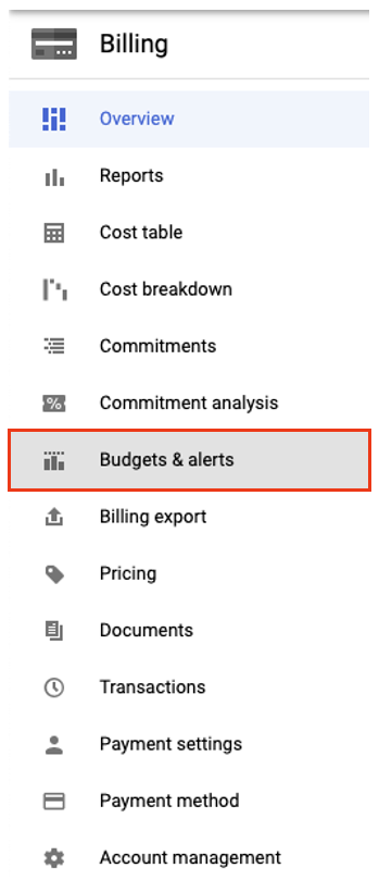 Select Budgets and Alerts from the billing menu