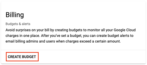 Click Create Budget
