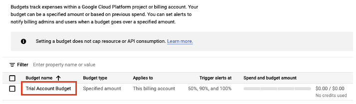 Now that you've created your budget, let's set the budget amount and enable the budget alerts. Click the linked budget you created in step 5.