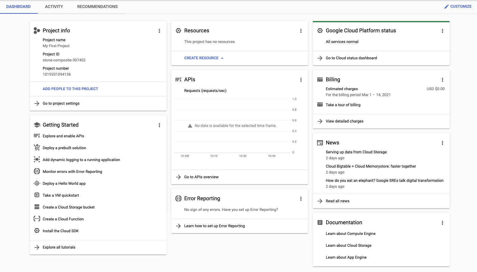 The dashboard provides several customizable widgets that provide you with data related to both the selected project and Google Cloud. Links to Google documentation are also available on the dashboard