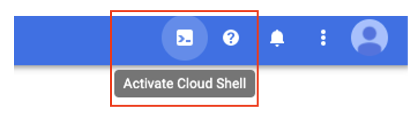 Click the Cloud Shell icon in the top right corner of the screen