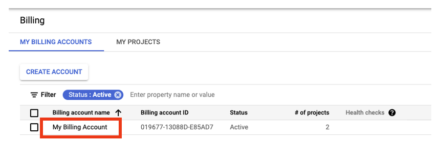 Select billing account from list