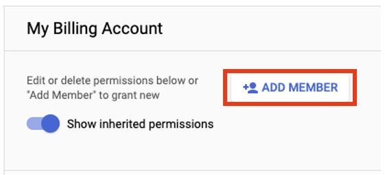 Click the Add Member button in the My Billing Account section
