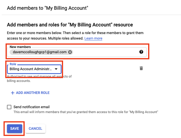 On the add members to your billing account screen, fill out/select the following fields: In the New members text box enter your new Gmail address from step 1 In the Role dropdown, select Billing Account Administrator
